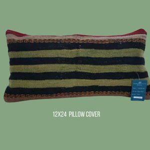 Turkish Kilim Pillow 12x24 Cover Only